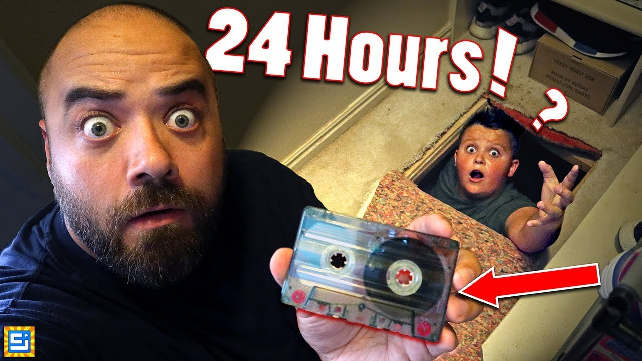 24 Hours Exploring Mystery Hidden Crawl Space with Found Secret Conspiracy Cassette!