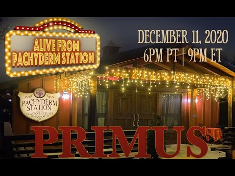 Primus announced livestream concert 'Alive From Pachyderm Station' from Les' winery!