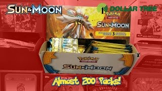 Opening Almost 200 Pokemon Card SUN AND MOON Dollar Tree Packs!!! THESE WERE DEFINITELY NOT WEIGHED