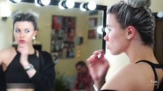 Прическа креативные пучки из косичек. Брейды. Яркий макияж