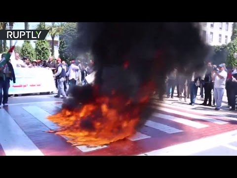 Israeli flags set on fire in Morocco to show support for Palestinian hunger strikers