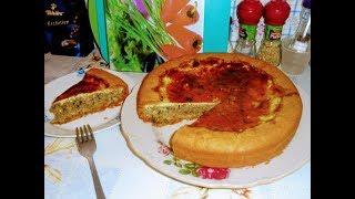 Выпечка.Песочный пирог с печенью, луком и зеленью.