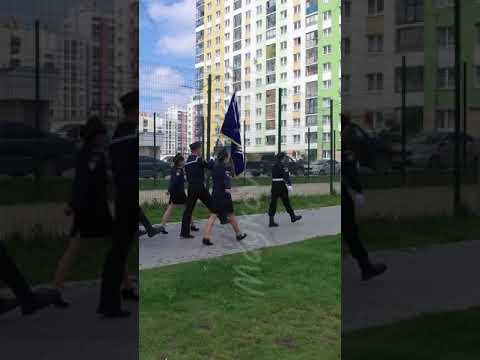 Vertical video. Ekaterinburg, Russia - July 30, 2016: Opening of the monument to sailors. Cadets ar
