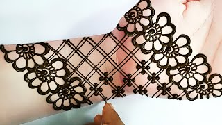 सिम्पल एंड सोबर मेहंदी डिजाइन - Easy and Beautiful Mehndi Design for Front Hand