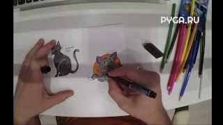 Как нарисовать мультяшную кошку карандашами поэтапно [Видеоурок]