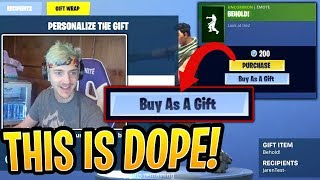 Ninja Reacts to *NEW* Gifting System! First Look on How it Works! - Fortnite Best and Funny Moments