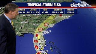 Tropical Storm Elsa Monday afternoon forecast