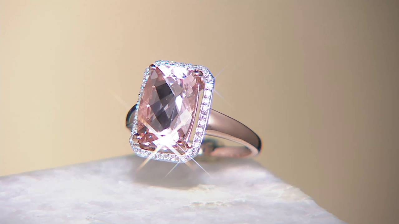 Elongated Cushion Cut Morganite & Diamond Ring 14k Gold On Qvc