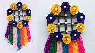 How to Make Wall Hanging Wool and paper / DIY arts and crafts / Best out of Wool craft ideas