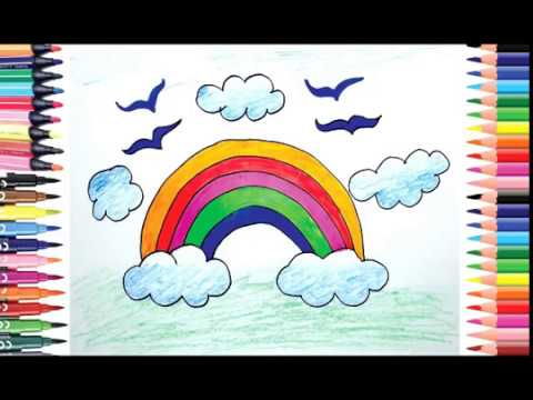 How to draw Rainbow for beginners, draw for kids, Color ...