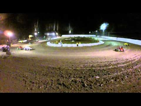 GoPro takes direct hit! Wingless Sprint Car Crash at Marysville Raceway 2/27/16