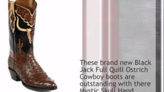 Black Jack Full Quill Ostrich Cowboy Boots With Hand Tooled Top Ht110 - Timsboots.com
