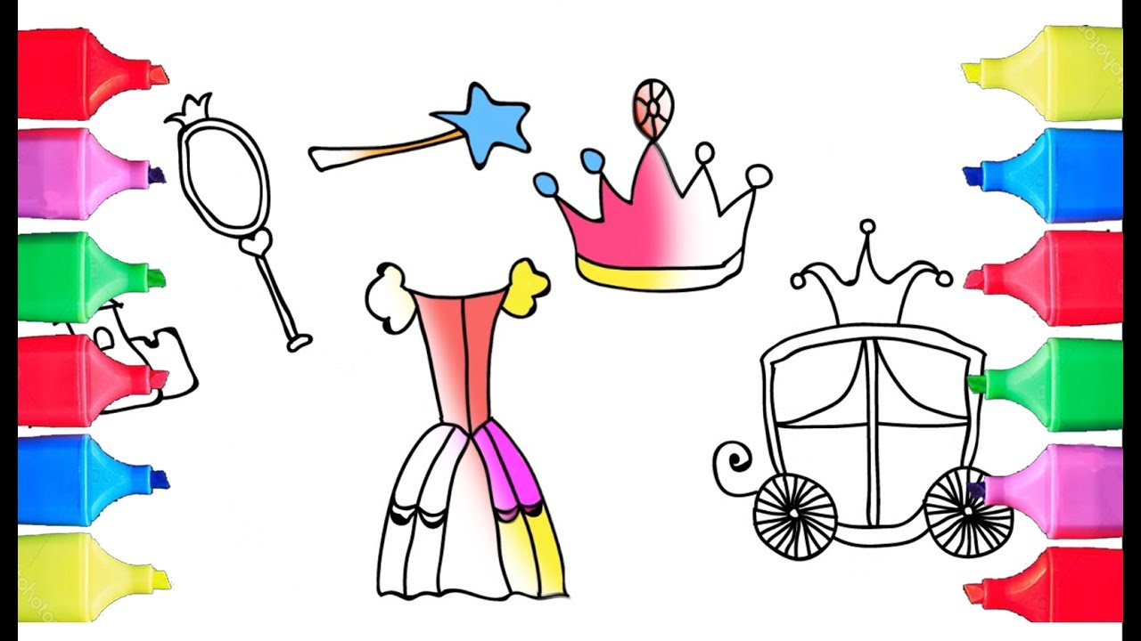 how to draw a princess set for girls coloring pages dress crown