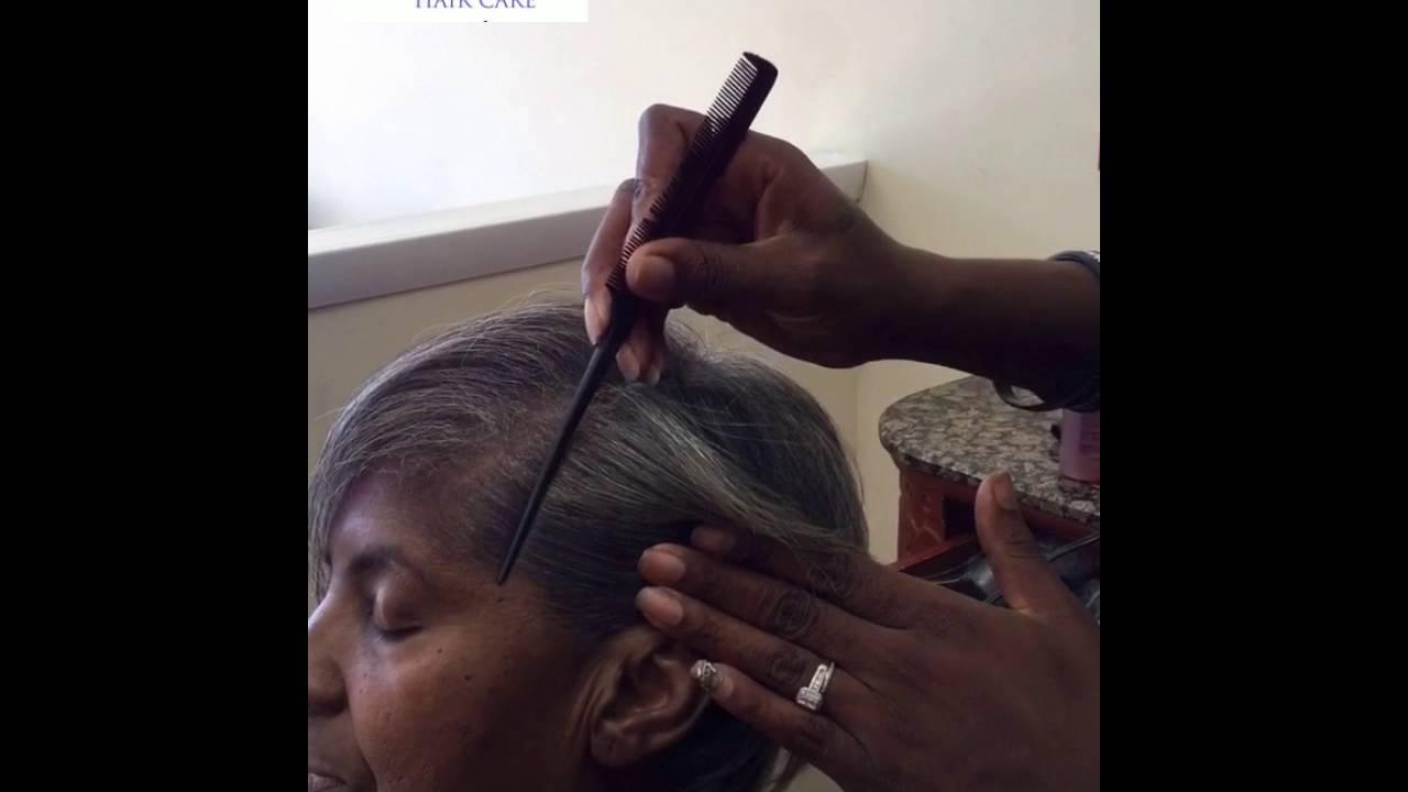Grey resistant hair silk press