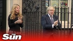 Boris & Carrie clap for COVID-19 carers in first public appearance since birth of son