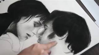 Elizabeth and Mr. Darcy. Pride and Prejudice. Charcoal Drawing - Keira Knightly, Matthew Macfadyen
