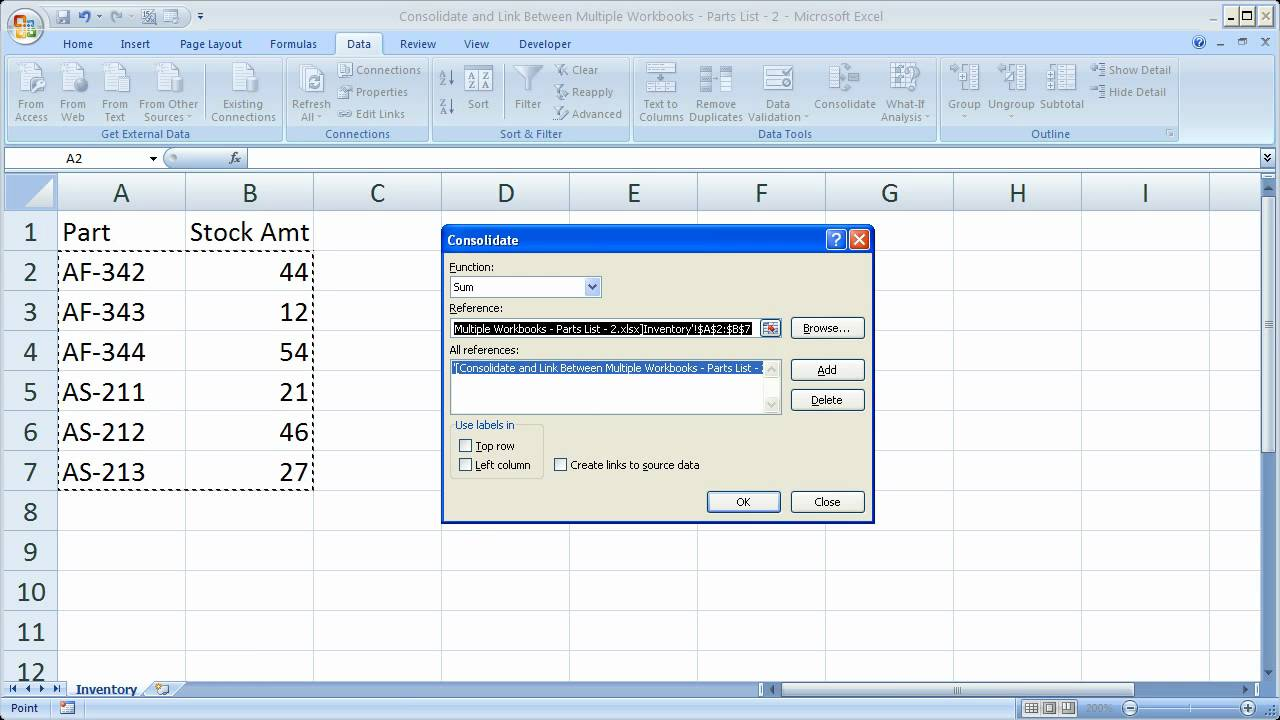 Workbooks consolidate workbooks in excel : Consolidate and Combine Data in Excel Between Multiple Workbooks ...