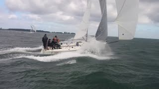 J/80 REACHING DOWNWIND - gusting 30 knots - World Championship 2015 - Kiel