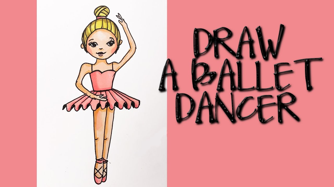 How To Draw A Ballerina For Kids Step By Step Tutorial Youtube
