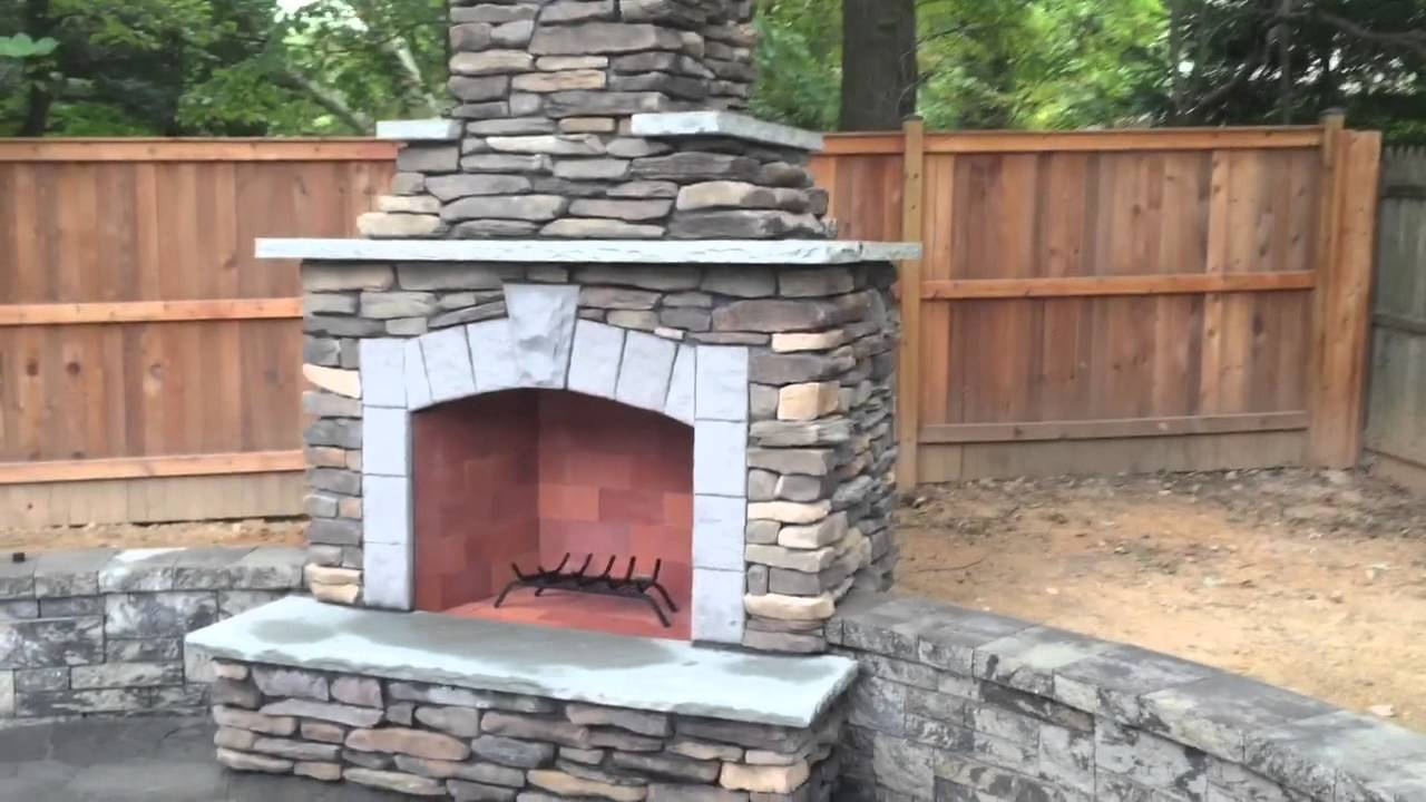 patio sitting walls fireplace led lights youtube