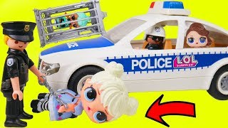 LOL Surprise Dolls + Lil Sisters Stopped by Playmobil Police with Confetti Pop - Toy Wave 2 Video