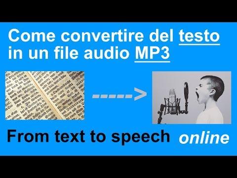 Come trasformare testo in mp3 audio