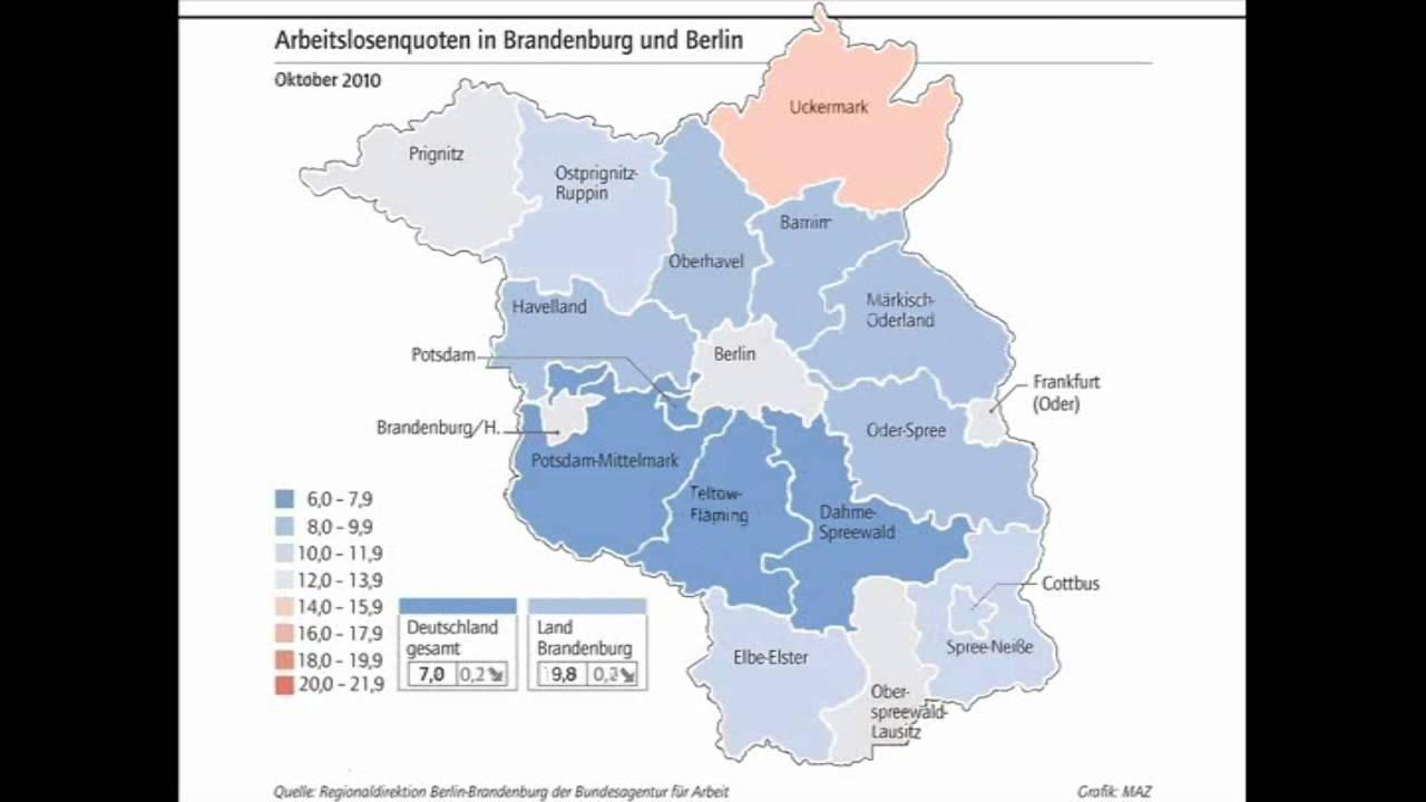 Entwicklung der Arbeitslosenquote in Brandenburg - YouTube