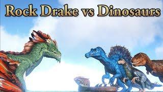 Rock Drake vs Allosaurus new Spino  Rex and Basilisk  ARK Survival Evolved