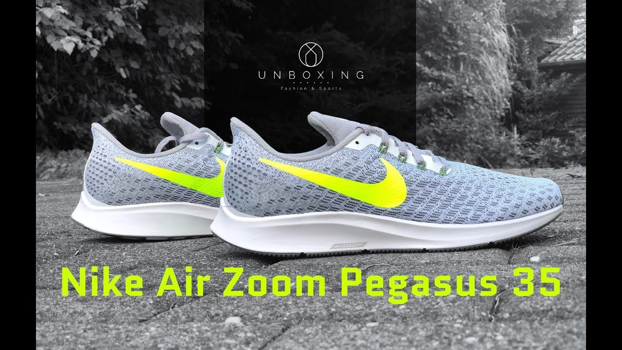 6d14f98eb Nike Air Zoom Pegasus 35 'Volt-Gunsmoke' | UNBOXING & ON FEET | running  shoes | 2018 | 4K