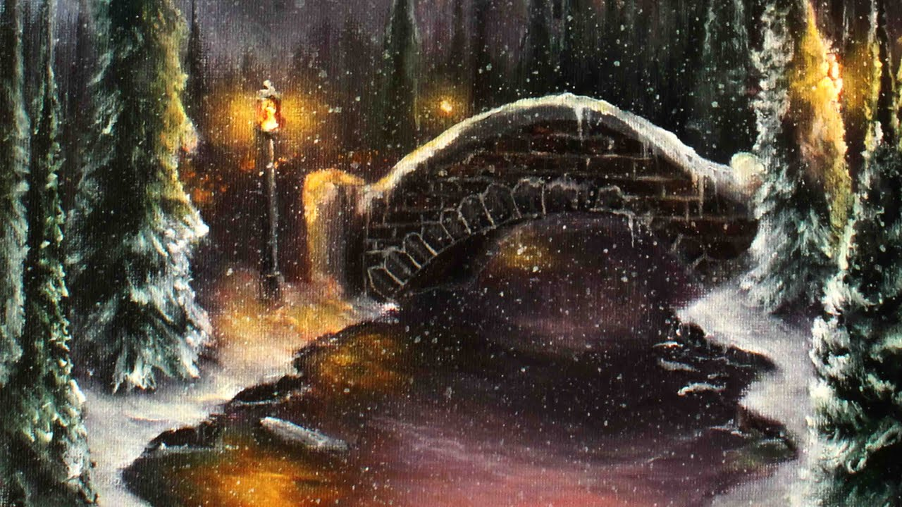 how to paint a romantic christmas winter scene a basic speed painting tutorial youtube