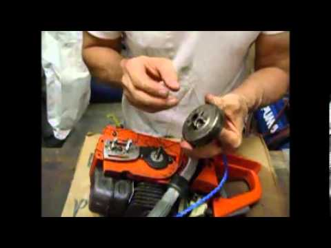 Chainsaw Repair  How to repair Husqvarna Clutch and Oil
