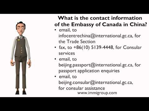 What is the contact information of the Embassy of Canada in China?