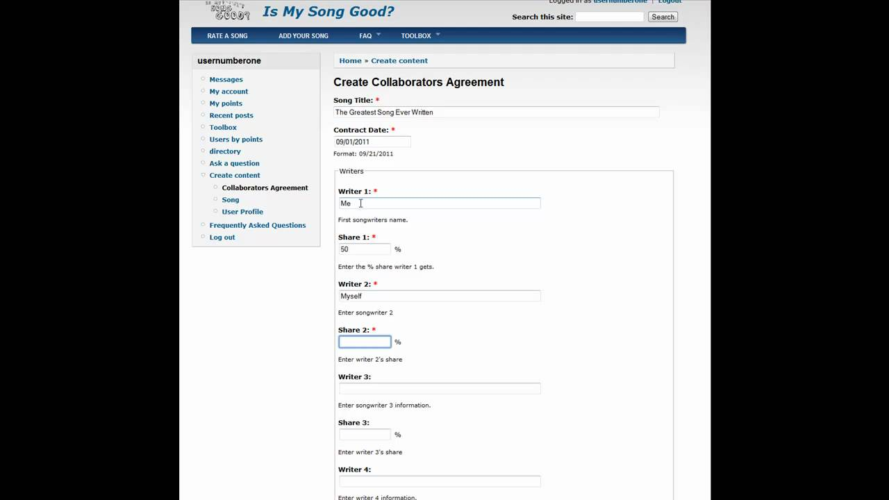 Songwriters Create Online Collaborators Agreement YouTube - Create contract online