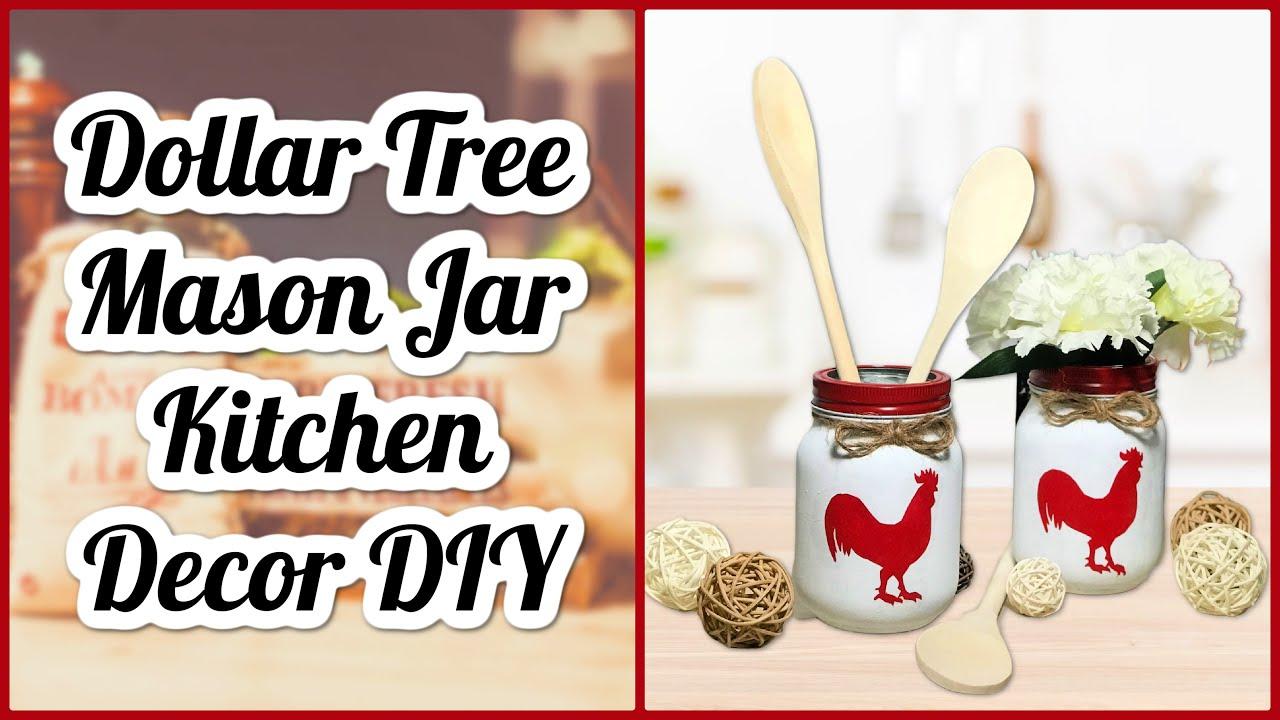 DIY Dollar Tree Kitchen Farmhouse Decor   Rooster Utensil Holder   Mason Jar Craft   Simple DIYs