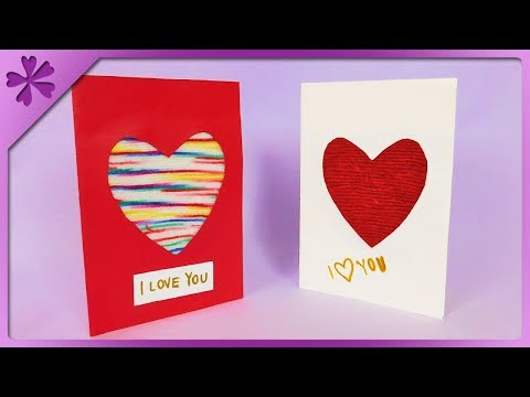 DIY Valentine's Day card with yarn heart (ENG Subtitles) - Speed up #567