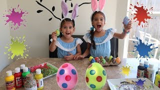 Sam and Abby  Coloring Easter Eggs/ Funny Video for Kids