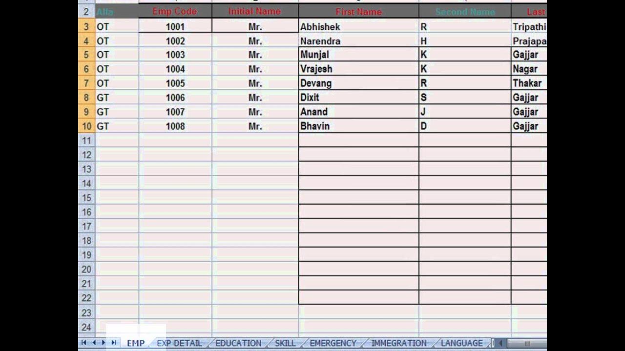 employees data sheet