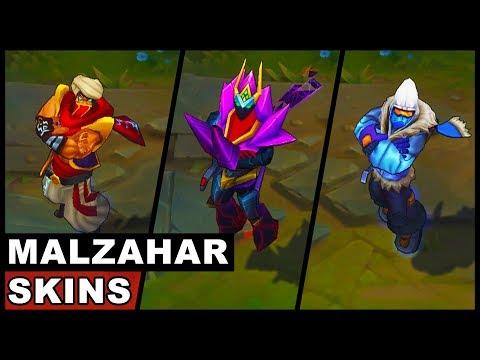 All Malzahar Skins Battle Boss Snow Day Overlord Djinn Vizier Shadow Prince (League of Legends)