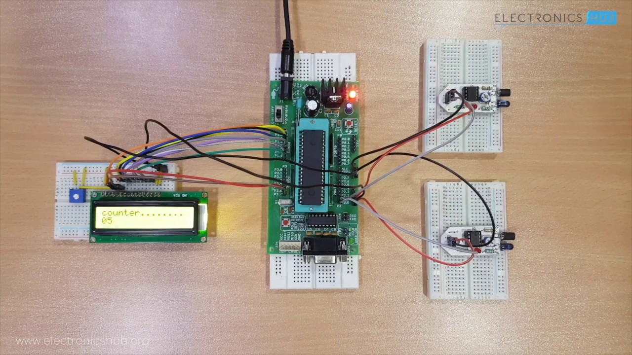 Bidirectional Visitor Counter Using 8051 Youtube Made In Proteus Shows The Required Microcontroller Circuit