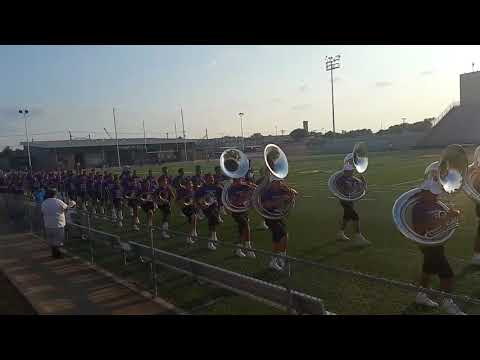 Sunset band & Bisonettes march into stadium 8.31.17