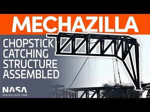 Mechazilla Chopstick Catching Structure Assembled   SpaceX Boca Chica