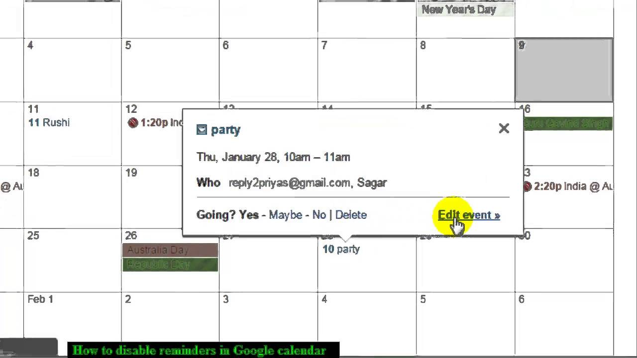 How to disable reminders in Google calendar