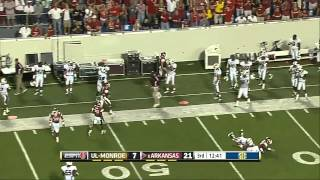 09/08/2012 UL Monroe vs Arkansas Football Highlights