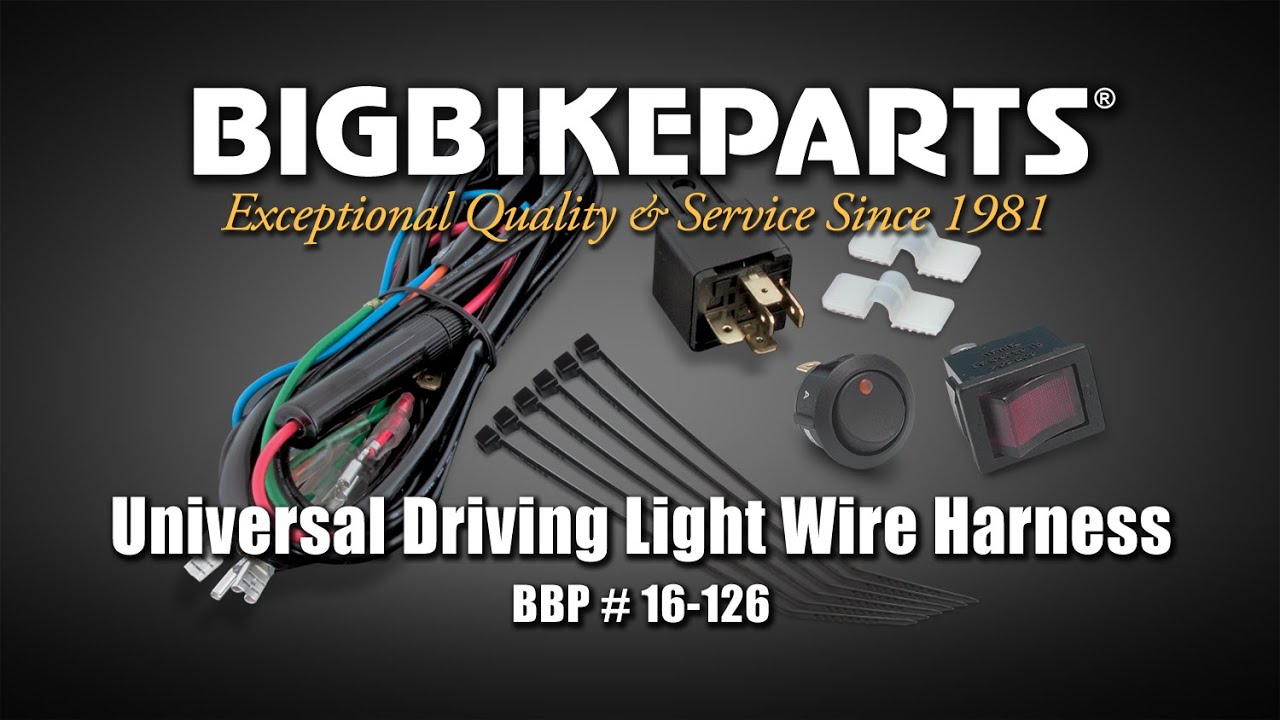 Universal Driving Light Wire Harness - YouTube on driving light wiring kit, driving light bulbs, driving mode wiring-diagram, driving light mounting bracket, driving light switch, driving lights electrical connection, driving light license plate bracket,