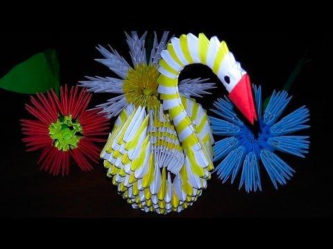 Модульное оригами лебедь (видео схема сборки) для начинающих