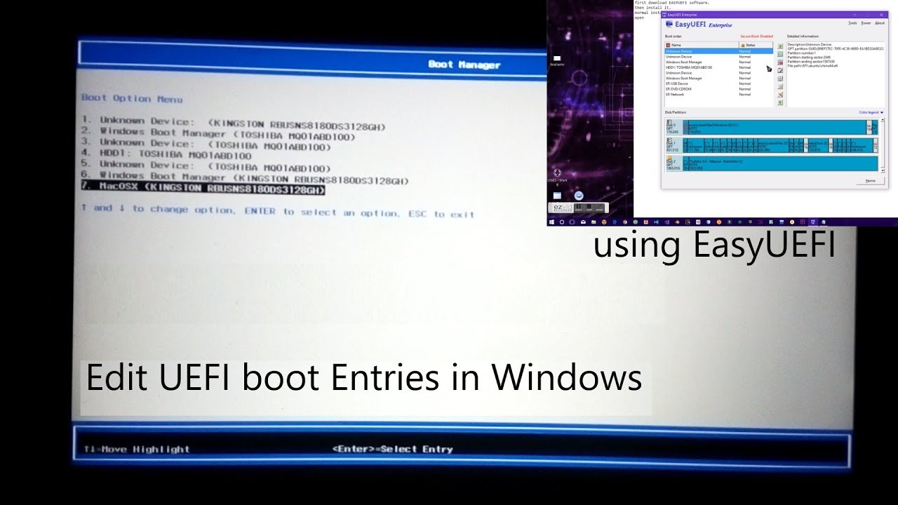 How to edit UEFI boot menu entries in Windows using EasyUEFI software