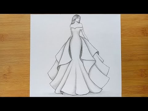 How To Draw A Girl With Beautiful Dress For Beginners Pencil Sketch Step By Step Youtube