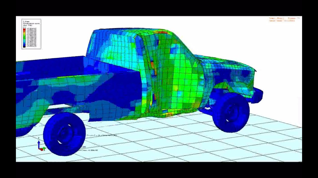 Pickup truck crash simulation in Abaqus - YouTube