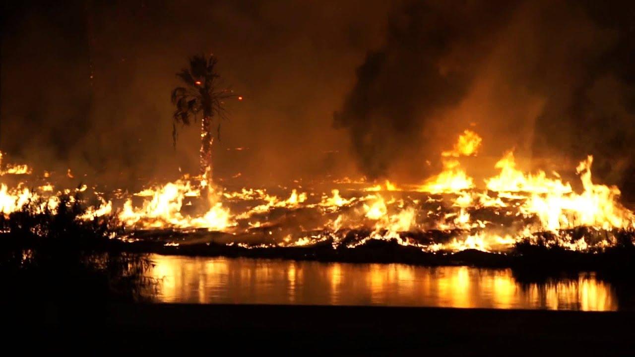 Fire at the Ocean to Ocean Highway Yuma Bridge, Yuma