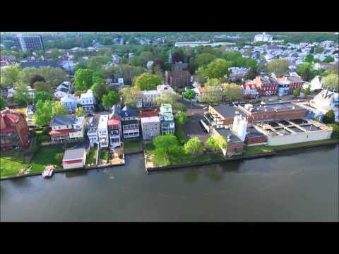 Historic Bristol, Pennsylvania water front via drone.